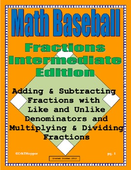 Addition and Subtraction of Fractions Baseball Game