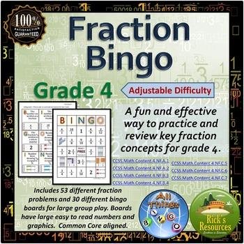 Fraction Bingo Game Grade 4