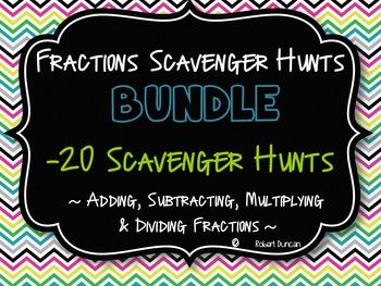 Fractions Bundle-20 Scavenger Hunts