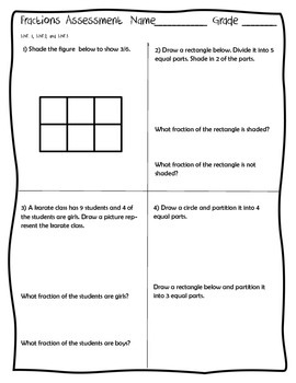 Fractions CCSS 3.NF.1, 3.NF.2, 3.NF.3 Assessment Test Pre