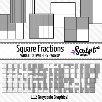 Fractions Clip Art ~ 112 Square Gray Fractions