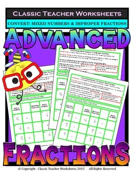 Fractions - Mixed Numbers to Improper Fractions Grades 5-6