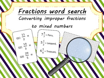 Fractions Word Search - Converting Improper Fractions to M