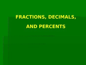 Fractions, Decimals & Percent Conversions PowerPoint Lesson