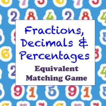 Fractions, Decimals & Percentages - Equivalency Activity