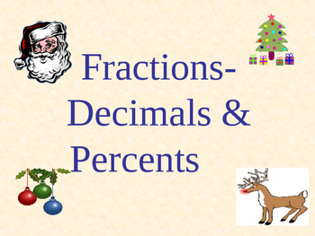 Holidays - Fractions, Decimals, Percents: With Bonus Fract