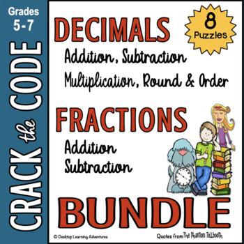 Fractions & Decimals Computation Practice - Crack the Code
