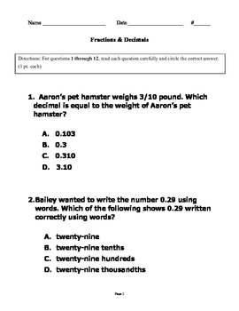 Fractions & Decimals Test 4th-6th grades/ alternate assessment