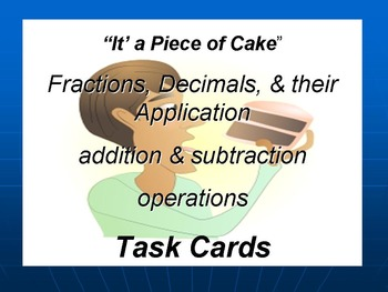 Fractions, Decimals, and Applications Task Cards
