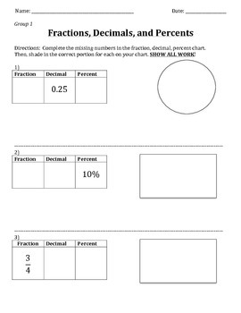 Fractions, Decimals, and Percents Task:  Preparation for 6.RP.3c