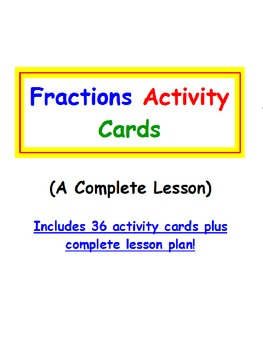 Fractions FREE Activity Cards PLUS Lesson Plan PREVIEW