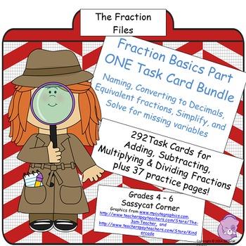 Fractions Task Card Bundle - Simplify, Find Equivalents, D