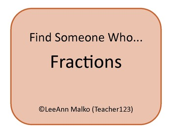Fractions Find Someone Who...