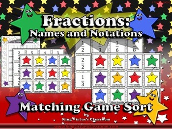 Fractions: Fraction Names and Notations Matching Game Sort