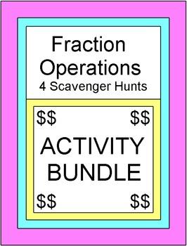 Fractions - Fraction Operations (4 Scavenger Hunts/Circuit