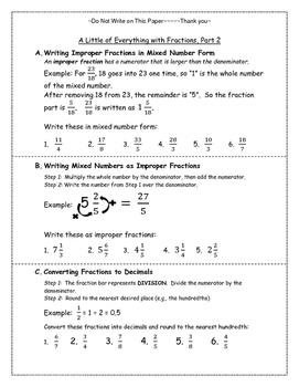 Fractions: Improper->Mixed, Fraction-> Decimal, & Decimal-