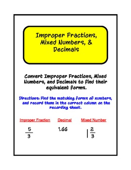 Fractions, Decimals & Mixed Numbers Work Station