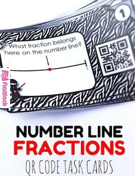 Fractions Number Line Ninjas QR Code Fun - 3.NF.A.2