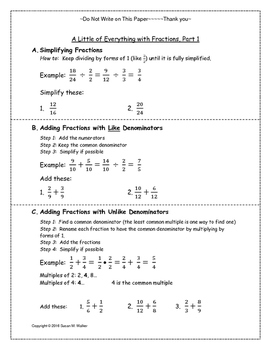 Fractions: Operations (Add, Multiply, Divide & Simplify in