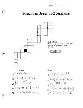 Fractions Order of Operations (Challenging)
