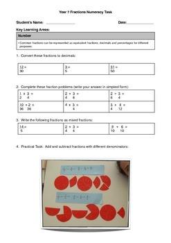 Fractions Practical Portfolio Task