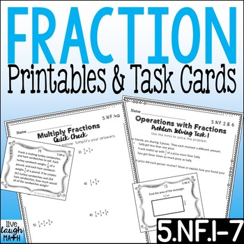 Fractions Printables & Task Cards