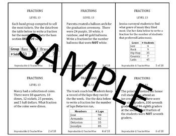 Fractions Problem Solving Task Cards: Level 12  Fractional