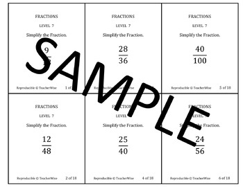Fractions Problem Solving Task Cards: Level 2 Reducing (Si