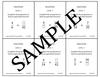 Fractions Problem Solving Task Cards: Level 5 Equivalent F