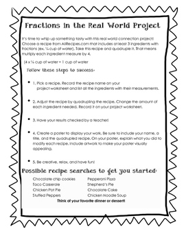 Fractions Real Life Recipe Project