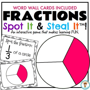 FRACTIONS Word Wall and Spot It & Steal It Math Game!
