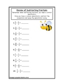 Fractions Subtraction Review Worksheet