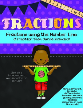 Fractions Task Cards Color- Using the Number Line