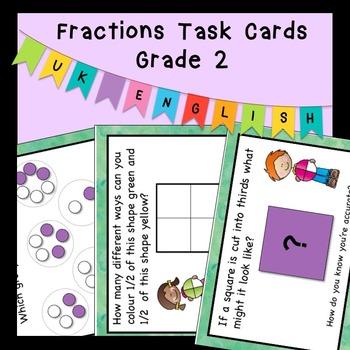 Fractions Task Cards Higher Order Thinking Grade 2 AUS UK