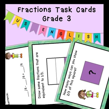 Fractions Task Cards Higher Order Thinking Grade 3 US