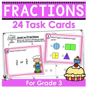 Fractions Task Cards/Scoot 3rd Grade- Sweet Treats Themed