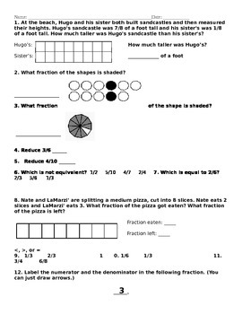 Fractions Test