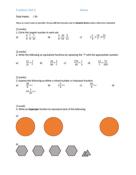 Fractions Test 2