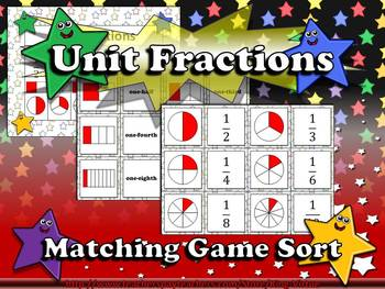 Fractions: Unit Fractions Matching Game Sort - Superstars
