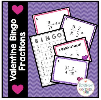 Fractions Valentine Bingo