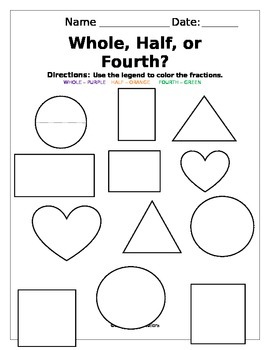 Fractions: Whole, Half, or Fourth?
