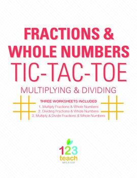 Fractions & Whole Numbers Review Game - Partner Activity T