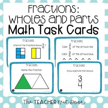 Fractions: Wholes and Parts Task Cards for 3rd Grade