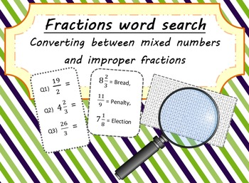 Fractions Word Search - Converting between Mixed Numbers a