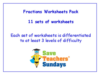 Fractions Worksheets Bundle / Pack (11 sets for 1st to 2nd grade)