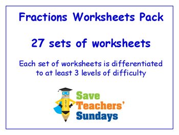 Fractions Worksheets Bundle / Pack (27 sets for 2nd to 4th grade)