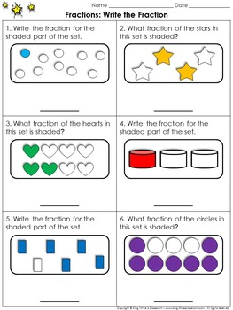 Fractions: Write the Fraction (Sets) Practice Sheets - Kin