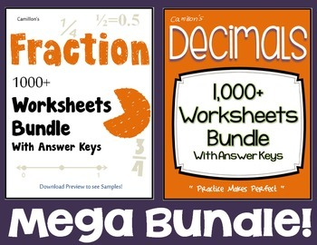 Fractions and Decimals  Worksheets with Answer Keys