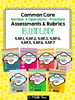 Fractions and Decimals Assessments & Rubrics BUNDLED! {4.N