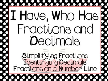"""Fraction and Decimal """"I Have, Who Has"""" games"""